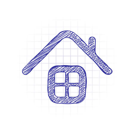 Simple house icon. Hand drawn sketched picture with scribble fill. Blue ink. Doodle on white background
