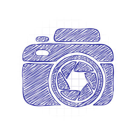 Photo camera with shutter, simple icon. Hand drawn sketched picture with scribble fill. Blue ink. Doodle on white background 向量圖像