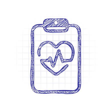Medical clipboard. Tablet, paper, heart and pulse line. Cardiology report blank. Linear icon with thin outline. Hand drawn sketched picture with scribble fill. Blue ink. Doodle on white background
