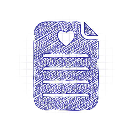 Medical history or report. Favourite text. Paper and heart. Hand drawn sketched picture with scribble fill. Blue ink. Doodle on white background