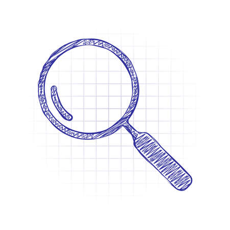 Loupe, search or magnifying. Linear icon, thin outline. Hand drawn sketched picture with scribble fill. Blue ink. Doodle on white background