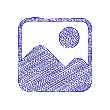 Simple picture icon. Hand drawn sketched picture with scribble fill. Blue ink. Doodle on white background