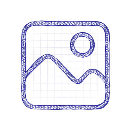 Simple picture icon. Linear symbol, thin outline. Hand drawn sketched picture with scribble fill. Blue ink. Doodle on white background