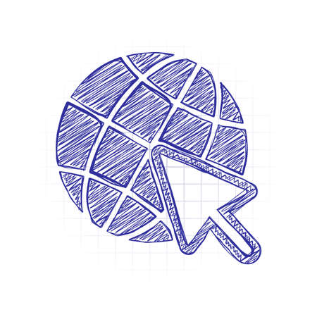 Globe and arrow icon. Hand drawn sketched picture with scribble fill. Blue ink. Doodle on white background