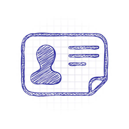 Identification card icon. ID profile. Hand drawn sketched picture with scribble fill. Blue ink. Doodle on white background Illusztráció