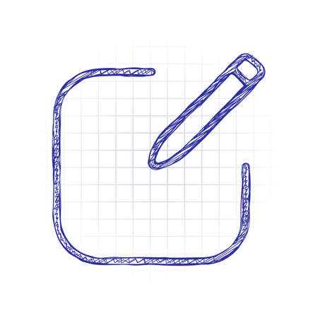 Edit icon. Square and pen. Linear, thin outline. Hand drawn sketched picture with scribble fill. Blue ink. Doodle on white background