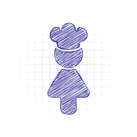 Chef woman simple silhouette. Kitchen icon. Hand drawn sketched picture with scribble fill. Blue ink. Doodle on white background Vecteurs