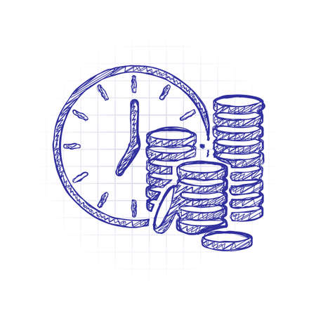 Time is money. Clock and coin stack. Finance icon. Hand drawn sketched picture with scribble fill. Blue ink. Doodle on white background