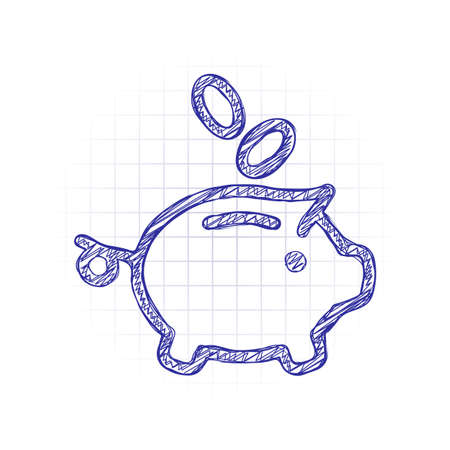 Piggy bank, dollar coins. Business icon. Hand drawn sketched picture with scribble fill. Blue ink. Doodle on white background