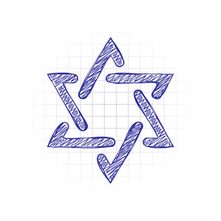 Star of david, simple icon. Hand drawn sketched picture with scribble fill. Blue ink. Doodle on white background