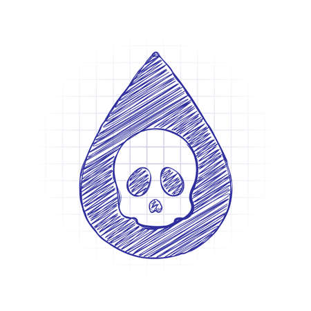 Drop of poison or acid with skull symbol. Icon of danger. Hand drawn sketched picture with scribble fill. Blue ink. Doodle on white background