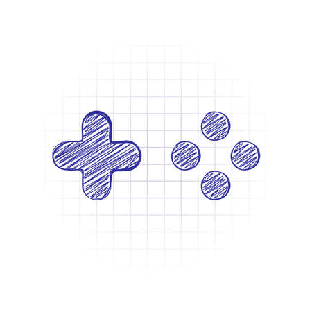 Logo of console or mobile game, controller or joystick, simple icon. Hand drawn sketched picture with scribble fill. Blue ink. Doodle on white background