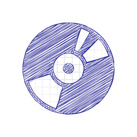 Vintage vinyl, audio disc, dj player. Simple icon, music logo. Hand drawn sketched picture with scribble fill. Blue ink. Doodle on white background Vectores