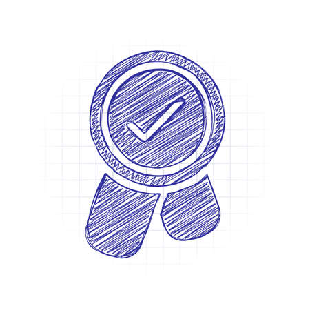 Award with ribbon and check mark, icon. Hand drawn sketched picture with scribble fill. Blue ink. Doodle on white background