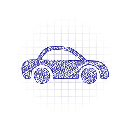 Silhouette of car, small auto icon. Hand drawn sketched picture with scribble fill. Blue ink. Doodle on white background