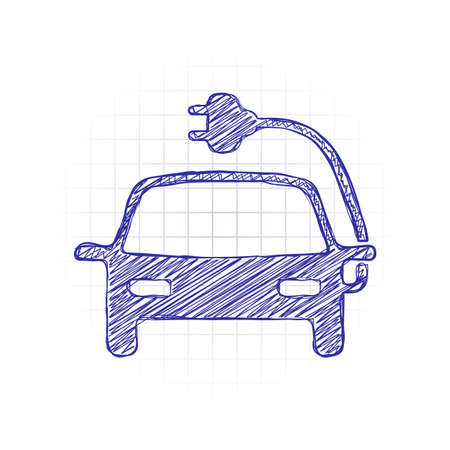 Eco logo of electric car with lightning mark, technology icon. Hand drawn sketched picture with scribble fill. Blue ink. Doodle on white background