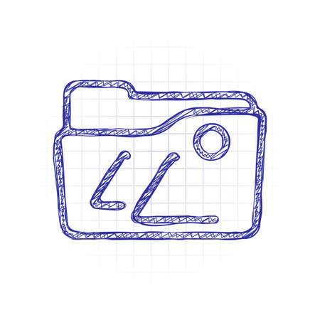 Folder of pictures or photos, gallery, outline linear icon. Hand drawn sketched picture with scribble fill. Blue ink. Doodle on white background