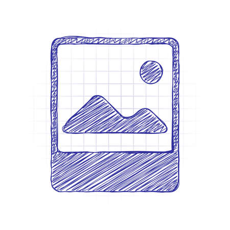 Photo, image file, album of pictures, simple icon. Hand drawn sketched picture with scribble fill. Blue ink. Doodle on white background
