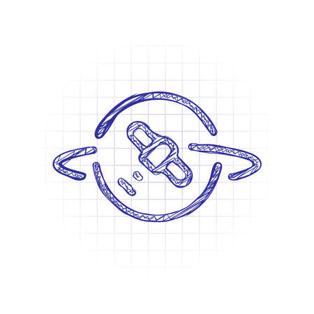 Planet and satellite, linear outline icon. Hand drawn sketched picture with scribble fill. Blue ink. Doodle on white background