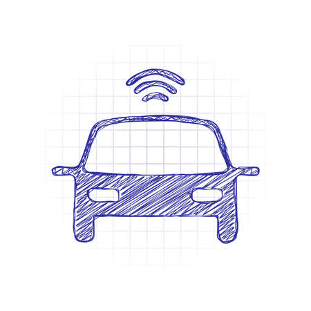 Smart car, modern autonomous auto, automatic transport, technology icon. Hand drawn sketched picture with scribble fill. Blue ink. Doodle on white background Ilustração