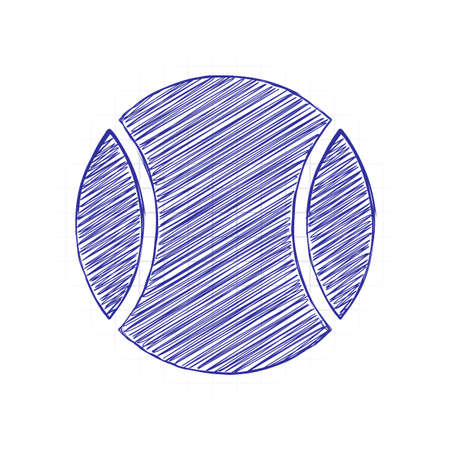 Tennis ball, sport game, simple icon. Hand drawn sketched picture with scribble fill. Blue ink. Doodle on white background