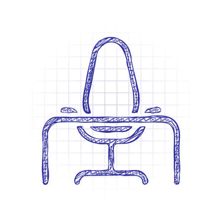 Office chair and table, outline linear icon. Hand drawn sketched picture with scribble fill. Blue ink. Doodle on white background