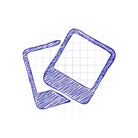 Pair photos, image files, album of pictures, simple icon. Hand drawn sketched picture with scribble fill. Blue ink. Doodle on white background
