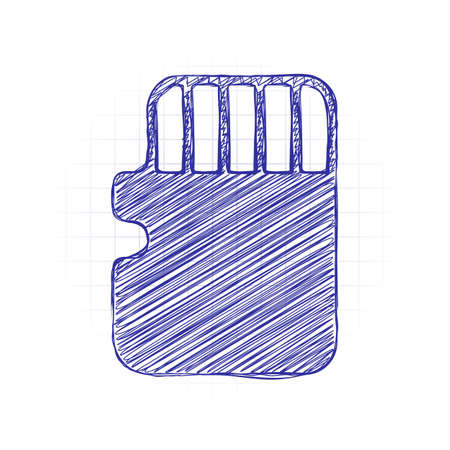 Memory card, micro sd, technology icon. Hand drawn sketched picture with scribble fill. Blue ink. Doodle on white background 일러스트