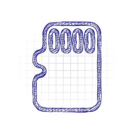Memory card, micro sd, linear outline technology icon. Hand drawn sketched picture with scribble fill. Blue ink. Doodle on white background 일러스트