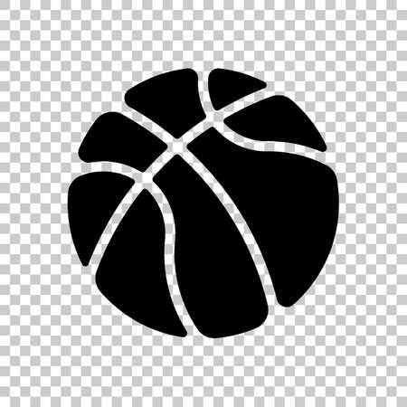 basketball, sport logo, simple ball. Black symbol on transparent background