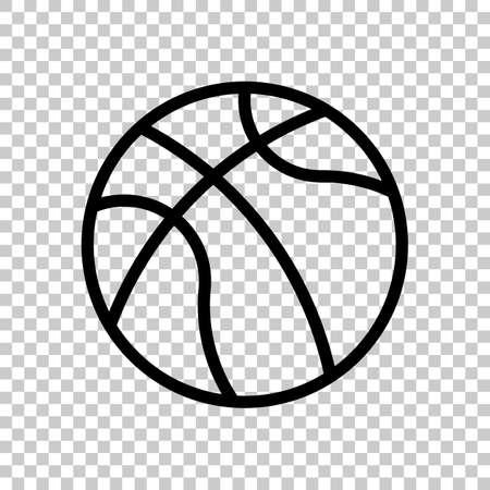 backetball, linear sport logo, simple ball. Black symbol on transparent background