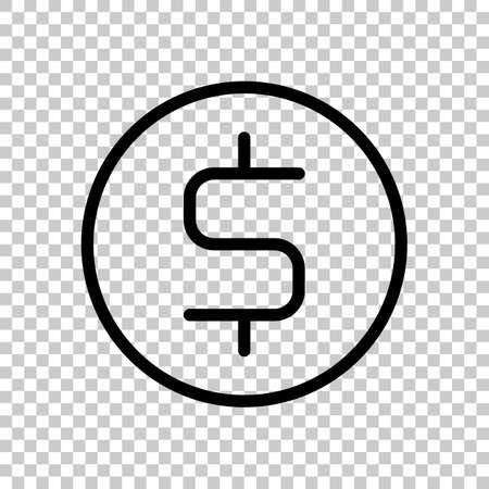 Dollar coin, money sign, outline design. Black symbol on transparent background
