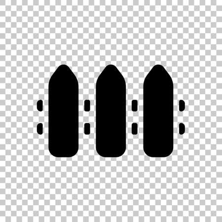 Simple fence sign. Black symbol on transparent background