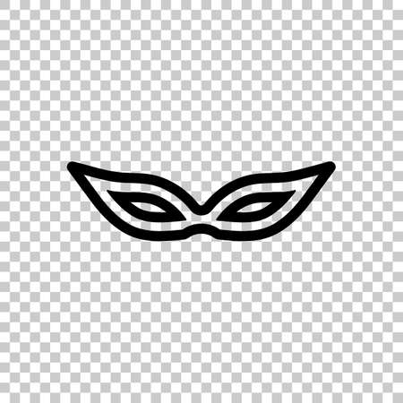 Masquerade mask, carnival or party, outline design. Black symbol on transparent background