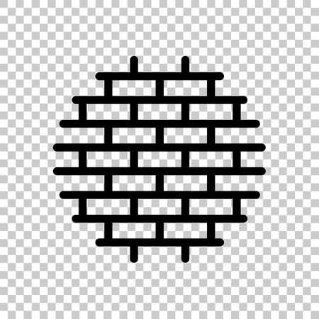 Brick wall, protection logo, outline design. Black symbol on transparent background Stockfoto - 145863203