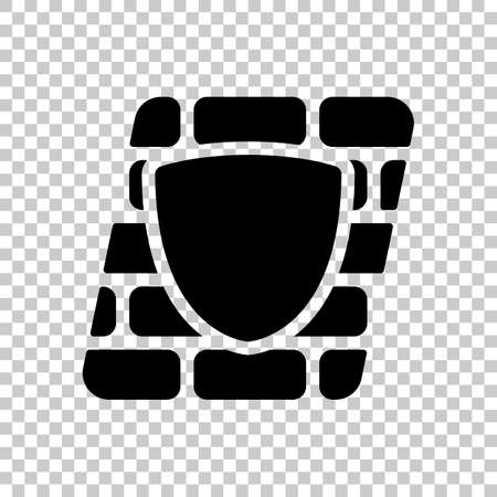 Shield and wall, building protection. Black symbol on transparent background