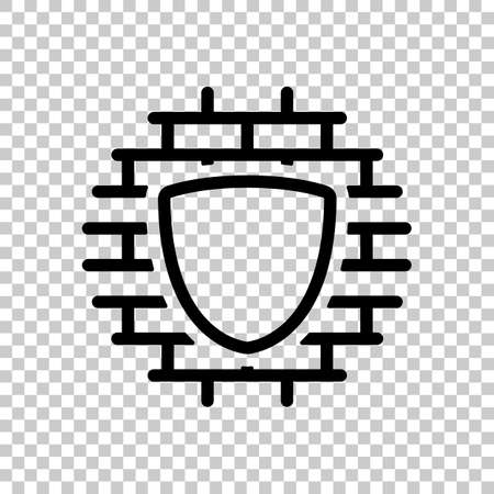 Shield and wall, building protection, outline design. Black symbol on transparent background