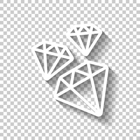 A few falling outline diamonds. White icon with shadow on transparent background
