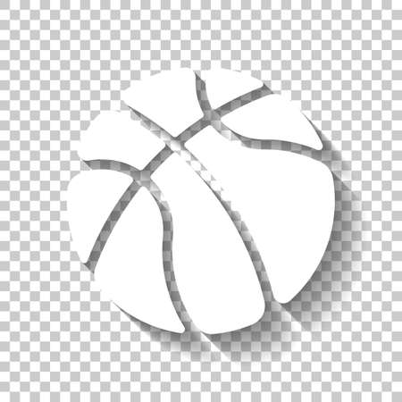basketball, sport logo, simple ball. White icon with shadow on transparent background Logo