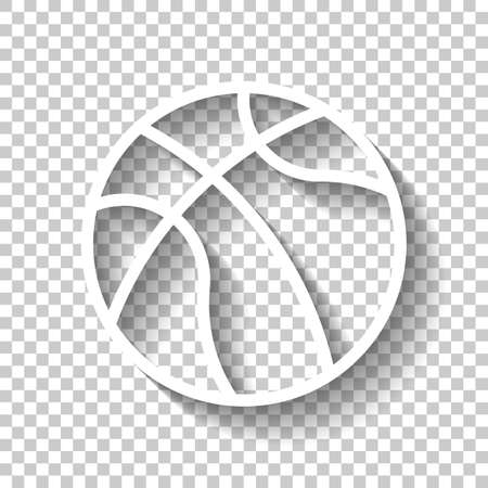 backetball, linear sport logo, simple ball. White icon with shadow on transparent background Logo