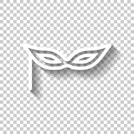Carnival mask, incognito at the masquerade, linear style. White icon with shadow on transparent background