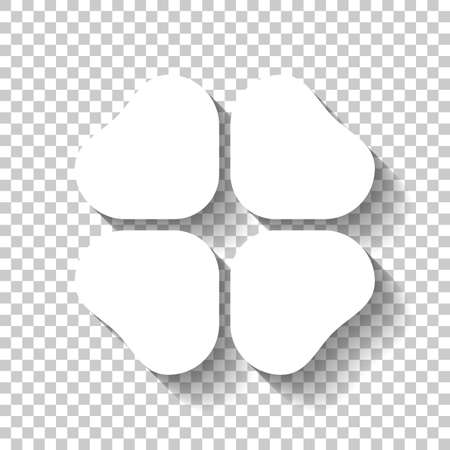 Four leaf clover, St Patricks Day sign. White icon with shadow on transparent background