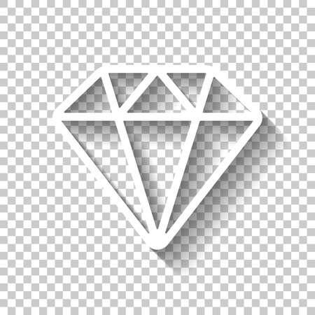 Diamond or brilliant, outline design. White icon with shadow on transparent background Vektoros illusztráció