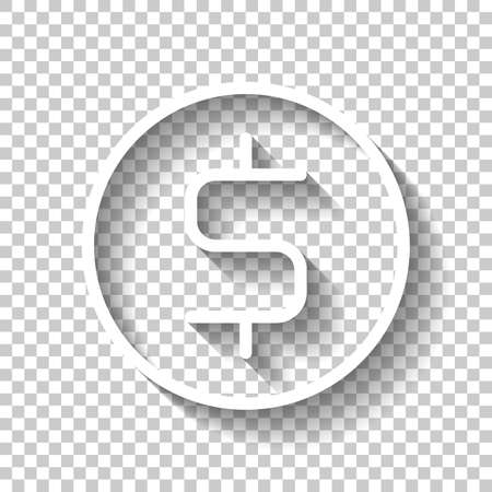 Dollar coin, money sign, outline design. White icon with shadow on transparent background Illustration