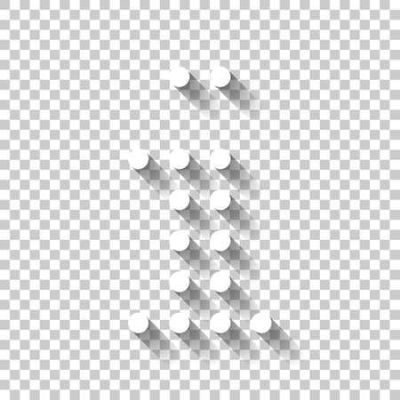 Digital dot info, information symbol. White icon with shadow on transparent background