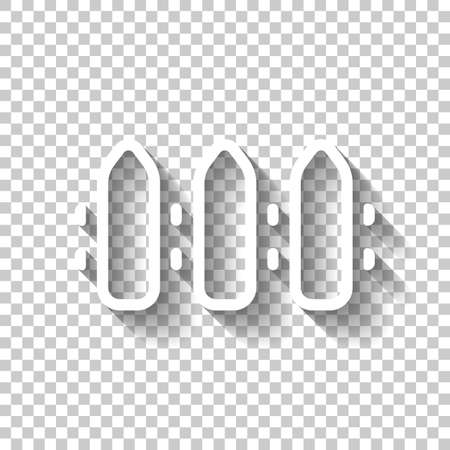 Simple fence sign, outline design. White icon with shadow on transparent background Vectores