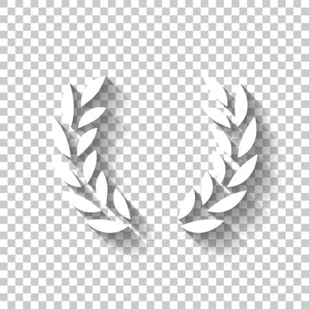 Laurel wreath, champion olive. White icon with shadow on transparent background