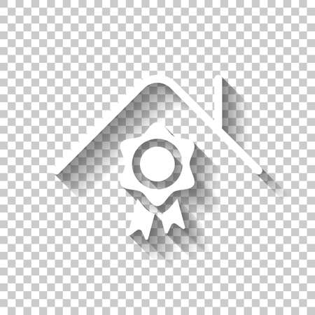 Certification house, certificate of quality for building. White icon with shadow on transparent background