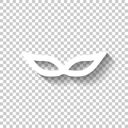 Masquerade mask, carnival or party. White icon with shadow on transparent background