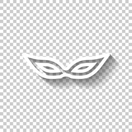 Masquerade mask, carnival or party, outline design. White icon with shadow on transparent background